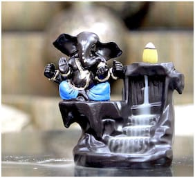 CRAFTAM Big Size Ganesha Backflow Burner;Ganpati Deva Smoke Backflow Incense Holder with 10 Backflow Incense Cone