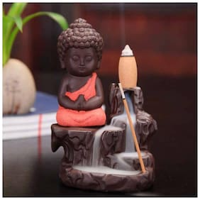 Craftam Decorative Useful Meditating Monk Buddha Smoke Backflow Cone Incense Holder Decorative Showpiece with 10 free Smoke Backflow Scented Cone Incenses Showpiece Gifts Set (Red)