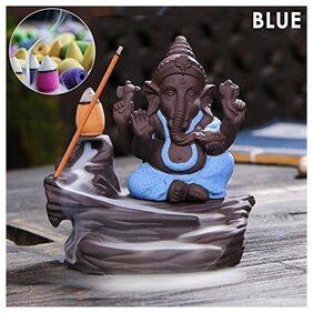 CRAFTAM Ganesha Smoke Fountain Incense Holder Decorative Showpiece with 10 Smoke Cones (G3- BLUE)