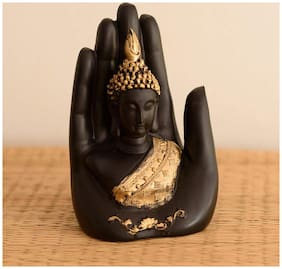 Craftam Golden Handcrafted Palm Buddha Polyresin Showpiece (10.5 cm x 7.5 cm x 17.5 cm, Black and Gold)