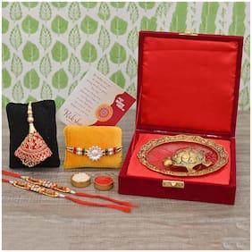 Craftam Rakhi Gifts for Brother Combo Set- Tortoise at  Glass Plate in Velbert Box, Raksha Bandhan Greeting , Roli Rice Pack and 4 Rakhi Set for Bhaiya , Bhabi and 2 Children
