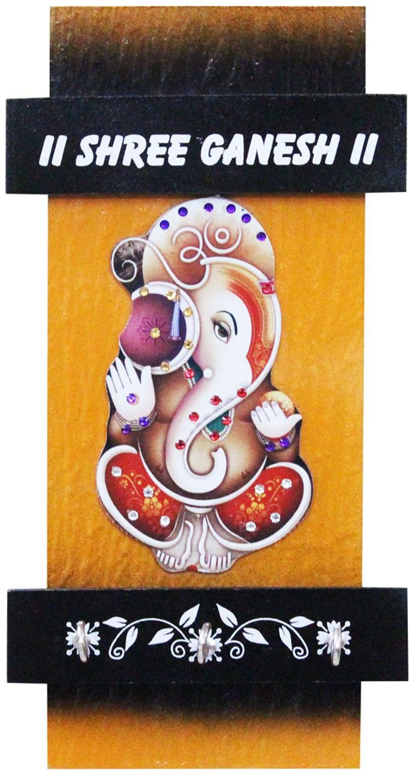 CraftJunction Wooden HandCrafted Ganesha Design Work Key Holder 9.5*5 Inches