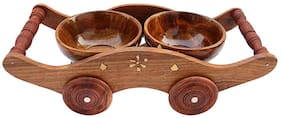 CraftShoppe handicrafts Set of 2 Wooden Bowl with Trolley