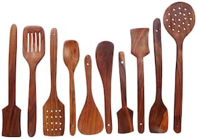 CraftShoppee Wooden Cooking Spoon ( Brown) -Set of 10