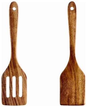CraftShoppee Handmade Wooden Serving and Cooking Spoon Kitchen Utensil/Tool (Set of 2)