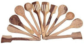 CraftShoppee Handmade Wooden Cooking Spoons and Serving Spoon Set of 12 | Non Stick Kitchen Utensil