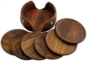 CraftShoppee Wooden Round Carved Coaster Set for Kitchen/Dining Table,Set of 6 Gift Items,Home
