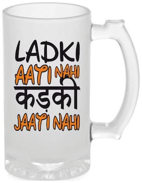 Crazy Sutra Funny and Cool Quote Ladaki Aati Nhi Printed Frosted Glass Beer Mug