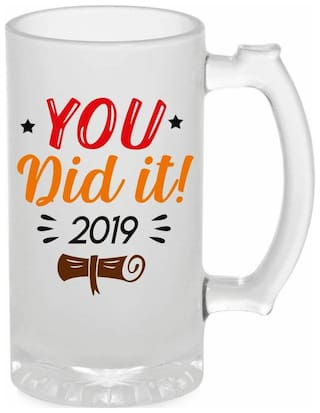 Crazy Sutra Funny and Cool Quote You Did It Printed Frosted Glass Beer Mug