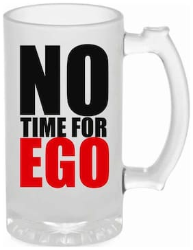 Crazy Sutra Funny and Cool Quote One Time For Ego Printed Frosted Glass