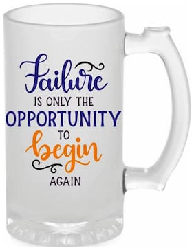 Crazy Sutra Funny and Cool Quote Failure Only The Opportunity to Begin Again Printed Frosted Glass Beer Mug for Friends/Brother/Boyfriend (500ml)