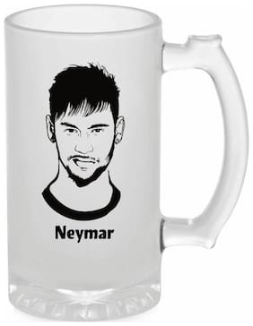 Crazy Sutra Funny and Cool Quote Neymar Printed Frosted Glass Beer Mug for Friends/Brother/Boyfriend (500ml)
