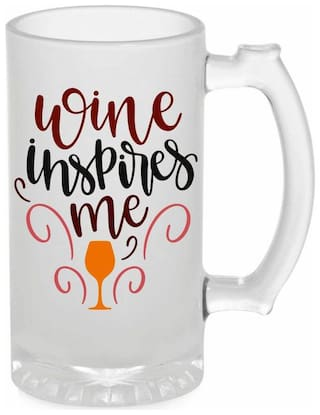 Crazy Sutra Funny and Cool Quote Wine In Spire Printed Frosted Glass Beer Mug for Friends/Brother/Boyfriend (500ml)