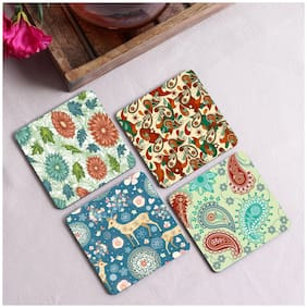 Crazy Sutra Premium HD Printed Standard Size Coasters for Tea Coffee, Mugs Beer Set of-4 (Cos-Pattern14)
