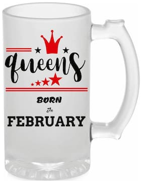Crazy Sutra Funny and Cool Quote Queen Are Born In February Printed Frosted Glass Beer Mug