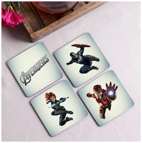 Crazy Sutra Premium HD Printed Standard Size Coasters for Tea Coffee;Cups;Mugs Beer;Cans Bar Glass;Home Kitchen;Office Desk Set of-4 (Cos-Avengers)