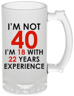 Crazy Sutra Funny and Cool Quote I Am Not Fourty Printed Frosted Glass Beer Mug for Friends/Brother/Boyfriend (500ml)