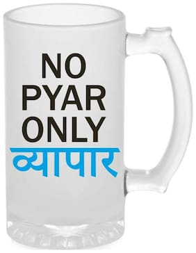 Crazy Sutra Funny and Cool Quote No Pyar Only Byapaar Printed Frosted Glass Beer Mug
