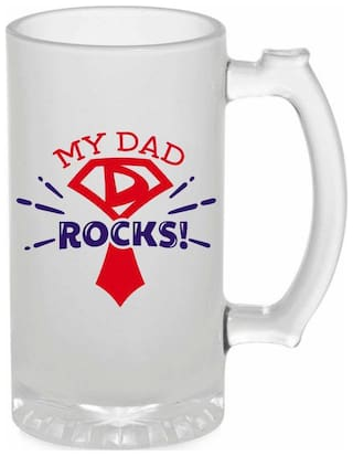 Crazy Sutra Funny and Cool Quote My Dad Rocks Printed Frosted Glass Beer Mug