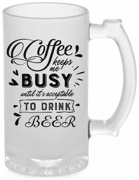 Crazy Sutra Funny and Cool Quote Coffee Keep me Busy Printed Frosted Glass Beer Mug for Friends/Brother/Boyfriend (500ml)