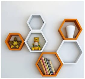 KraftStics Creative Wooden Haxagon Wall Shelf (Number Of Shelf 6 Orange,White)
