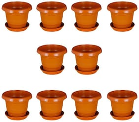 Crete Brown 25.4 cm (10 inch) Planter With Plate- Set of 10