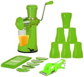 Crezza Hand Fruit Juicer & Vegetable Fruit cutter With Slicer, vegetable Cutter, 6 Plastic Glass Combo (Green).