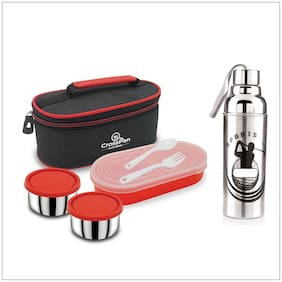 CrossPan 3 Container Stainless Steel Lunch Box Container Set of 3 ( Red ,  1000 ml )
