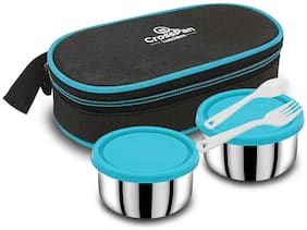 CrossPan 2 Container Stainless Steel Lunch Box Set of 1 ( Blue ,  400 ml )