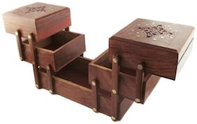 CRUZ INTERNATIONAL Beautifully Top Carved with Brass Work Wooden 3 Stories Foldable Jewellery Box