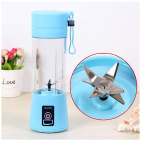 Crystal Digital Plastic Portable and Rechargeable Battery Juicer Blender, 380 ml Bottle with USB Cable
