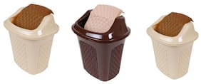 CSM Table Dustbin Desk Dustin With Lid- Set of 3 (Color May Vary)
