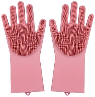 Curify Dream Magic Silicone Dish Washing Gloves, Silicon Cleaning Gloves, Silicon Hand Gloves for Kitchen Dishwashing and Pet Grooming, Great for Washing Dish, Car, Bathroom (Assorted Color, 1 Pair)