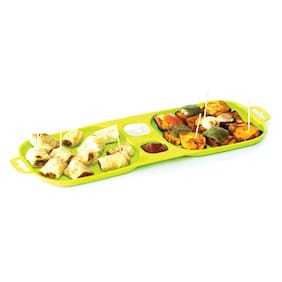 Cutting Edge Serve And Dip Square Snack Trays With Tooth Pick Holder -Set Of 2 (Trandy Green)