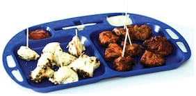 Cutting Edge Serve And Dip Square Snack Trays With Tooth Pick Holder -Set Of 2 (Electric Blue)