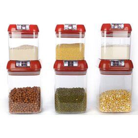 Cutting Edge Flip Llock Premium Storage Canisters Combo (6 Pcs)(Blossom Red) (Net: 5070 Ml)
