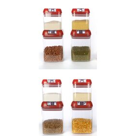 Cutting Edge Flip Llock Premium Storage Canisters Combo (8 Pcs) (Blossom Red) (Net: 6760 Ml)