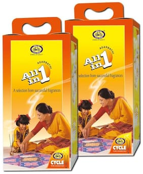 Cycle Pure Agarbathies All in One Pack of 2 Mix of different Fragrances Incense Sticks