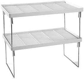 D-226 Disha Abs Plastic Folding Rack, 15.5X9.5X7.2, 2-Piece, White and Silver