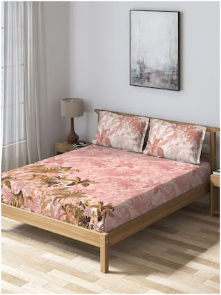 D'Decor Live Beautiful Cotton Floral King Size Bedsheet 150 TC ( 1 Bedsheet With 2 Pillow Covers , Pink )
