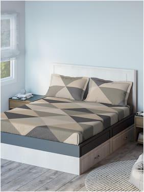 D'Decor Live Beautiful Cotton Geometric Double Size Bedsheet 136 TC ( 1 Bedsheet With 2 Pillow Covers , Multi )