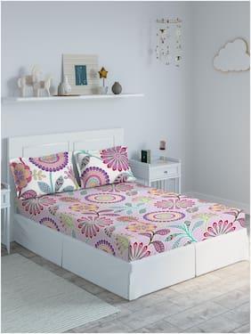 D'Decor Live Beautiful Cotton Floral Single Size Bedsheet 136 TC ( 1 Bedsheet With 2 Pillow Covers , Multi )