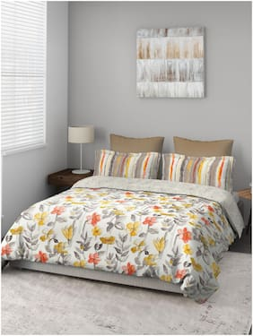 D'Decor Live Beautiful Cotton Floral Double Size Bedsheet 136 TC ( 1 Bedsheet With 2 Pillow Covers , Multi )
