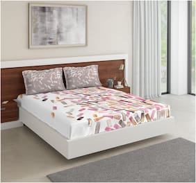 D'Decor Live Beautiful Cotton Abstract Double Size Bedsheet 136 TC ( 1 Bedsheet With 2 Pillow Covers , Multi )
