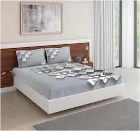 D'Decor Live Beautiful Cotton Geometric King Size Bedsheet 136 TC ( 1 Bedsheet With 2 Pillow Covers , Multi )