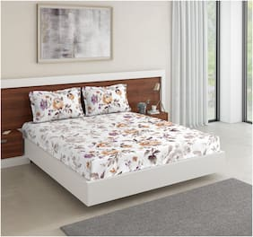 D'Décor Live Beautiful Cotton Floral Double Size Bedsheet 136 TC ( 1 Bedsheet With 2 Pillow Covers , Multi )