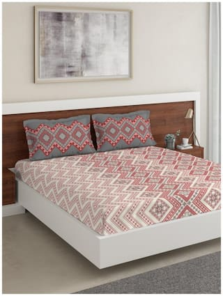 D'Decor Live Beautiful Cotton Geometric Double Size Bedsheet 144 TC ( 1 Bedsheet With 2 Pillow Covers , Multi )