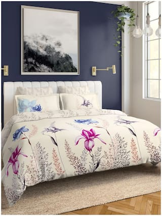D'Decor Live Beautiful Cotton Floral King Size Bedsheet 150 TC ( 1 Bedsheet With 2 Pillow Covers , Multi )