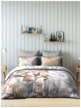 D'Decor Live Beautiful Cotton Geometric King Size Bedsheet 150 TC ( 1 Bedsheet With 2 Pillow Covers , Brown )