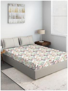 D'Decor Live Beautiful Cotton Floral Double Size Bedsheet 144 TC ( 1 Bedsheet With 2 Pillow Covers , Multi )